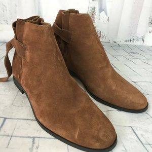 H By Hudson Suede Tie Back Ankle Boots  NWOB